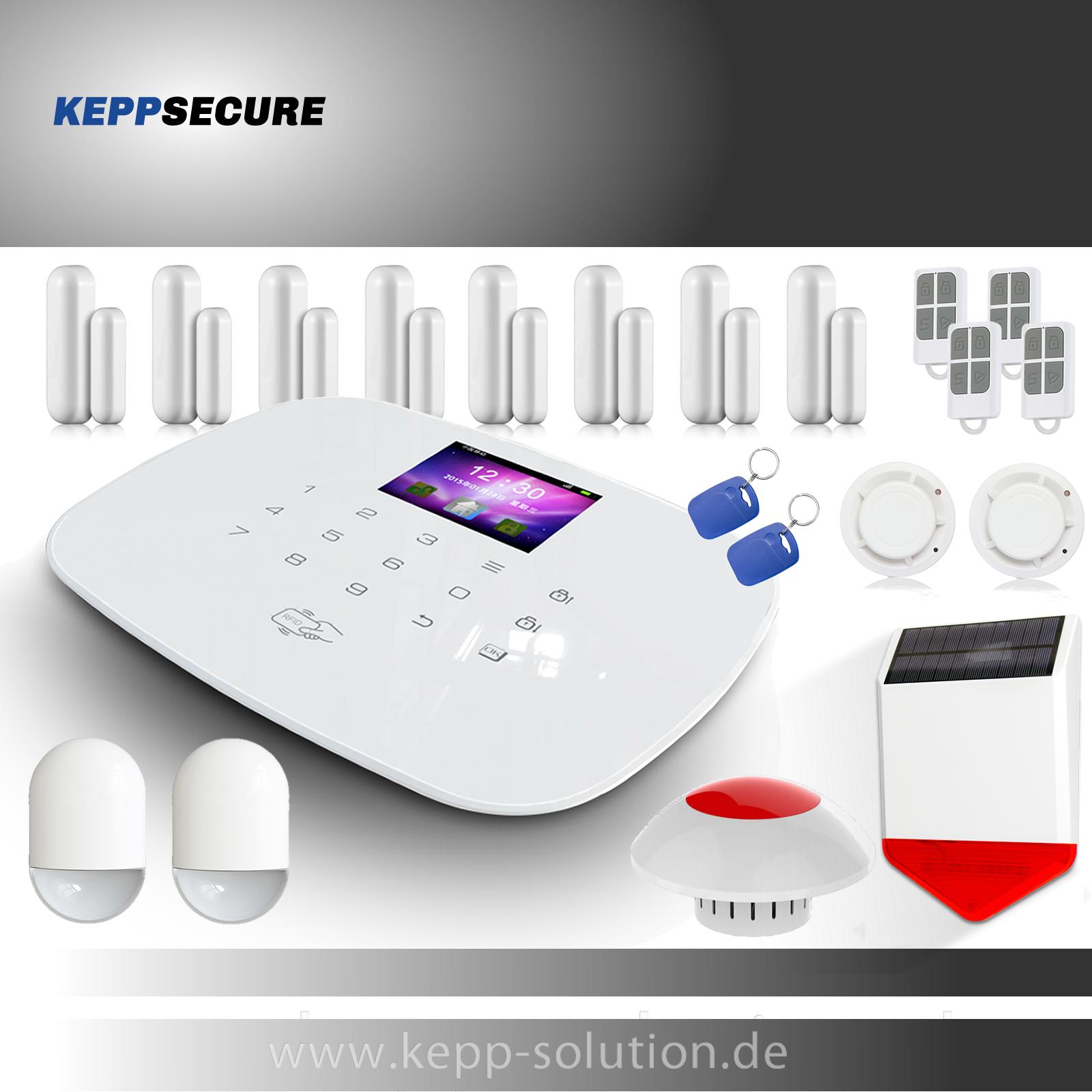 Profi WLAN/&GSM Funk Alarmanlagenset Model W-20.WiFi-Smarthome vom Fachh/ändler KEPPSECURE Alarmanlage mit Bewegungsmelder und WiFi Funktion